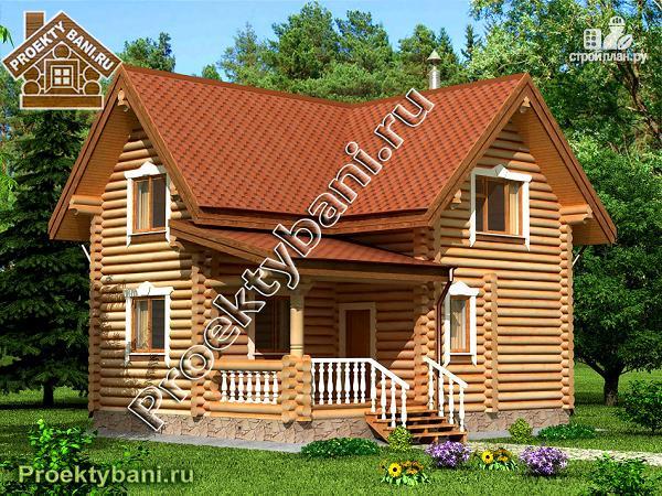 Фото: проект дом-баня с просторной террасой и парилкой