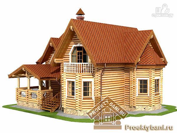 Фото 5: проект дом из оцилиндрованного бревна с тремя спальнями