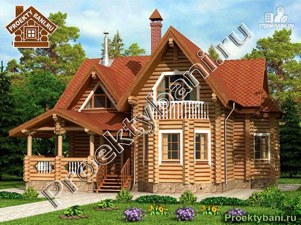 Фото: проект дом из оцилиндрованного бревна с тремя спальнями
