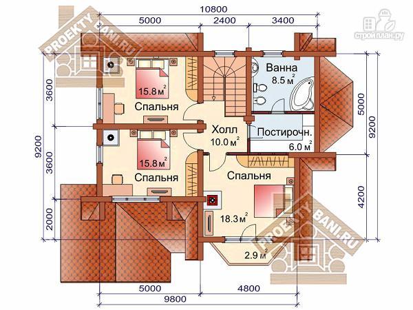 Фото 3: проект дом из оцилиндрованного бревна с тремя спальнями
