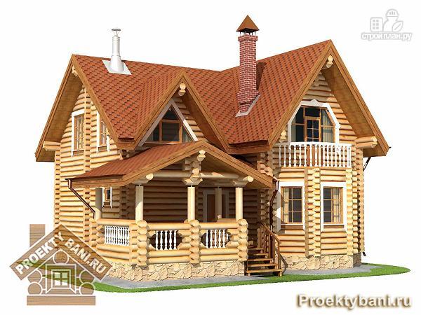Фото 4: проект дом из оцилиндрованного бревна с тремя спальнями