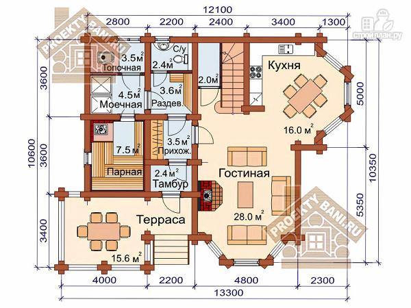 Фото 2: проект дом из оцилиндрованного бревна с тремя спальнями