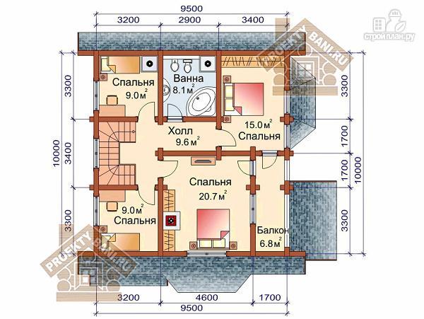Фото 3: проект дом из бревна с четырьмя спальнями