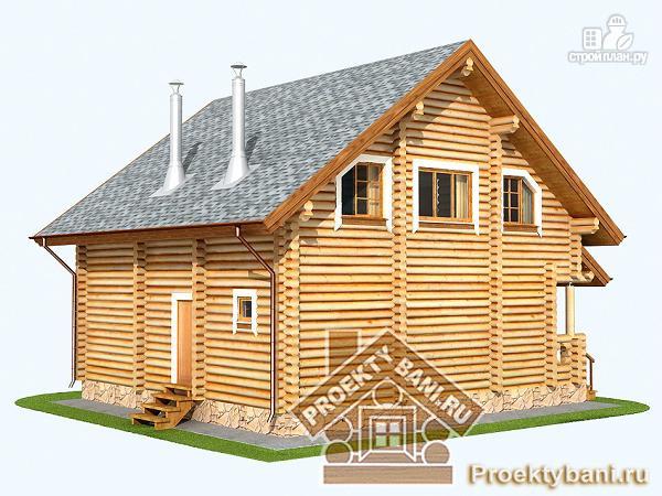 Фото 6: проект дом из бревна с четырьмя спальнями