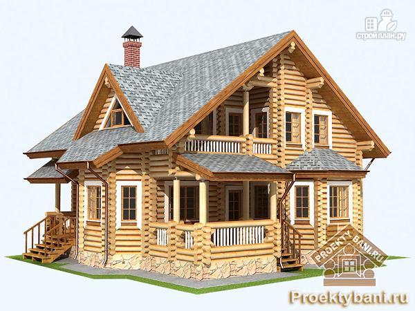 Фото 4: проект дом из бревна с четырьмя спальнями
