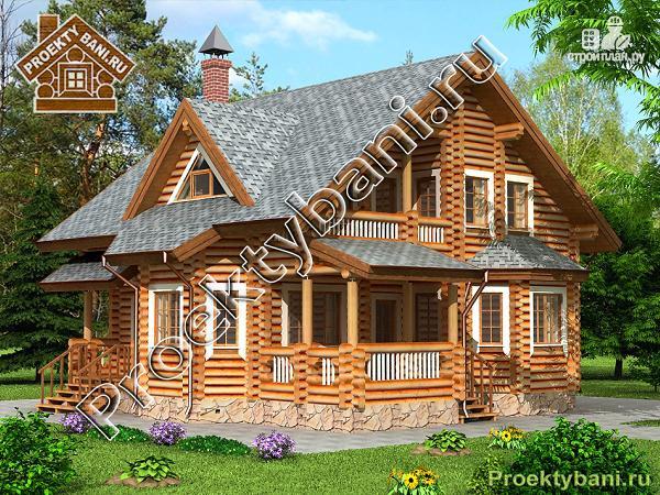 Фото: проект дом из бревна с четырьмя спальнями