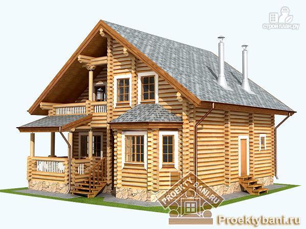 Фото 5: проект дом из бревна с четырьмя спальнями