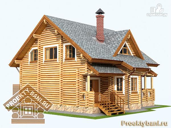 Фото 7: проект дом из бревна с четырьмя спальнями
