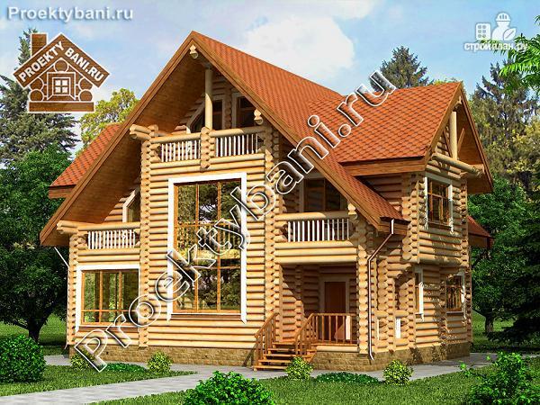 Фото: проект дом-баня с двумя комфортабельными спальнями и бильярдной