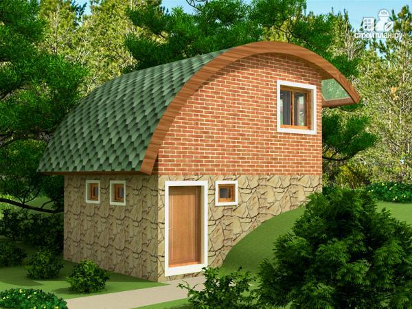 Фото 4: проект небольшой дачный домик на склоне