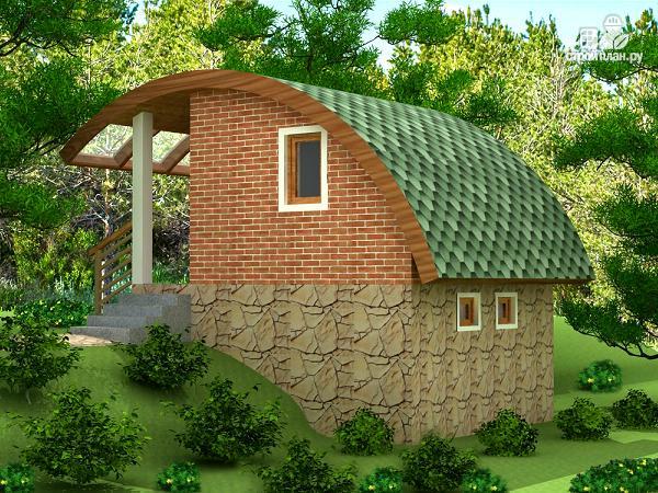 Фото 2: проект небольшой дачный домик на склоне