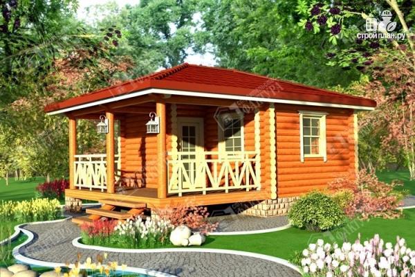Фото: проект дом из бревна с верандой