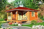 Проект дом из бревна с верандой