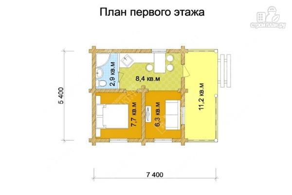 Фото 2: проект одноэтажный дом из бревна