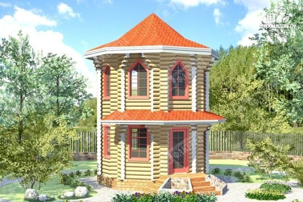 Фото: проект дом башня из бревна