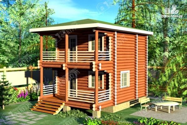 Фото: проект дом из оцилиндрованного бревна с балконом