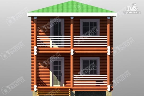 Фото 4: проект дом из оцилиндрованного бревна с балконом