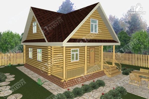 Фото: проект двухэтажный дом из оцилиндрованного бревна