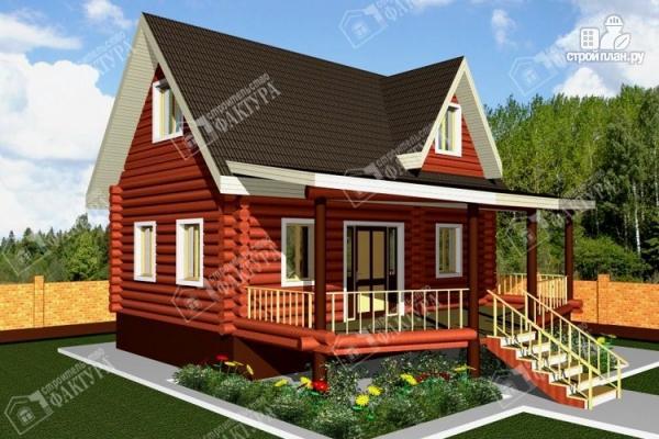 Фото: проект дом из бревна с мансардой