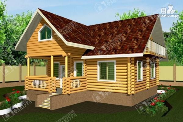 Фото: проект дом из бревна с балконом