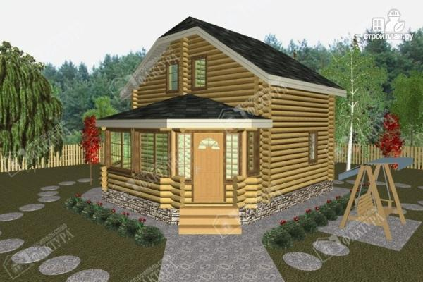 Фото: проект дом из бревна с застекленной верандой