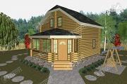 Фото: дом из бревна с застекленной верандой