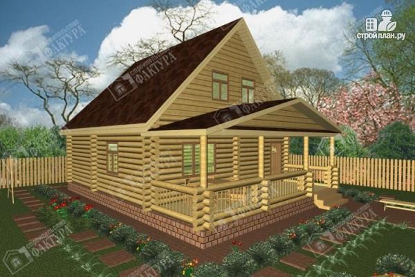 Фото: проект дом из бревна с пятью спальнями