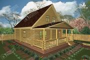 Проект дом из бревна с пятью спальнями