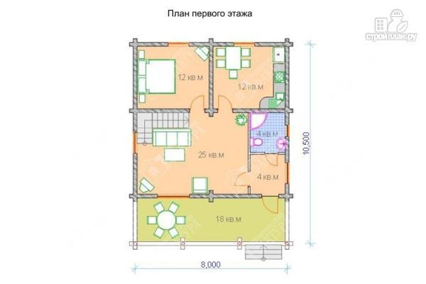 Фото 2: проект дом из бревна с пятью спальнями