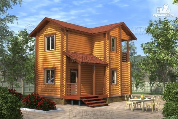 Фото: проект двухэтажный дом из бревна без мансарды