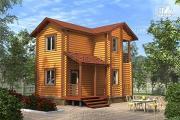 Фото: двухэтажный дом из бревна без мансарды