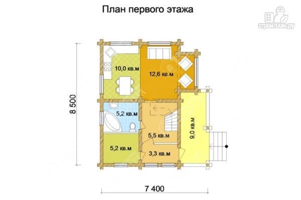 Фото 2: проект дом из оцилиндрованного бревна 220 мм