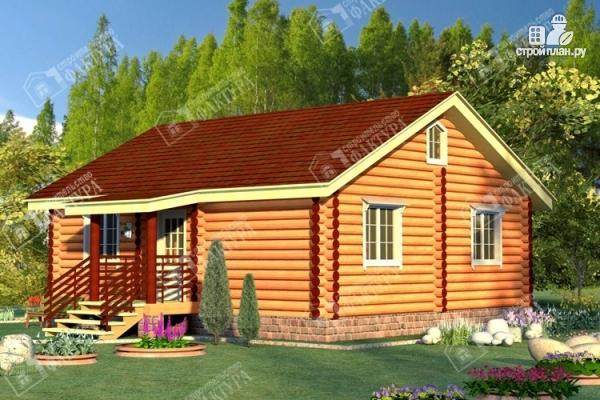 Фото: проект дом из бревна с широким крыльцом
