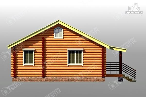 Фото 6: проект дом из бревна с широким крыльцом