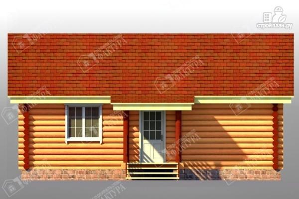 Фото 3: проект дом из бревна с широким крыльцом