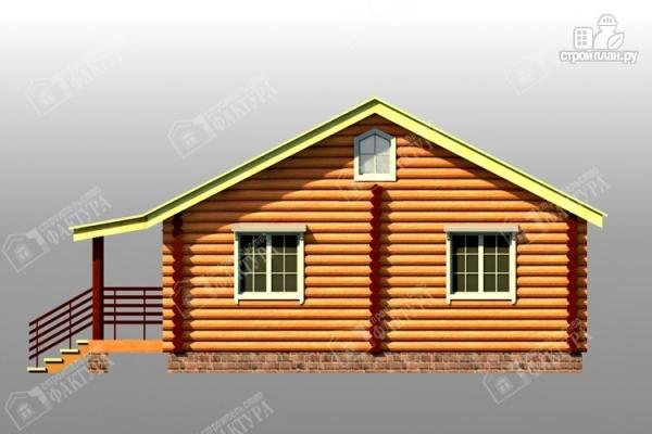 Фото 4: проект дом из бревна с широким крыльцом