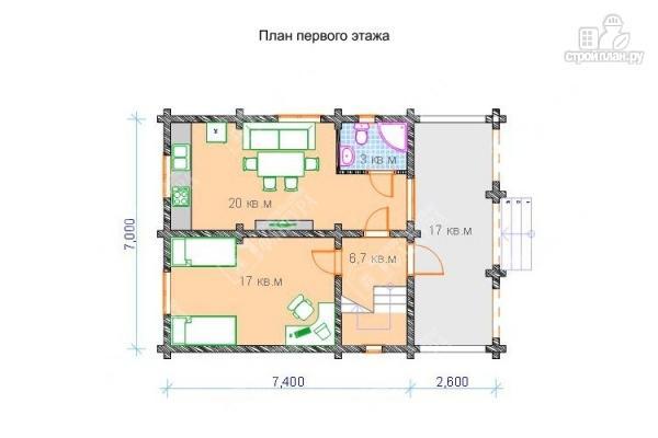 Фото 2: проект бревенчатый дом 7х10