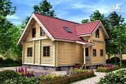 Фото: дом из бревна с мансардными окнами