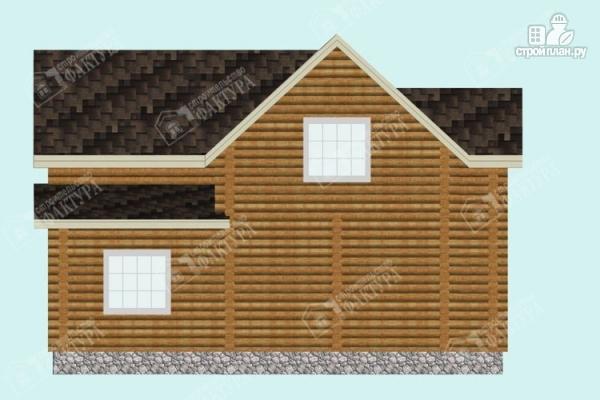 Фото 6: проект дом из бревна с высокой мансардой