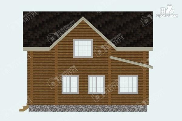 Фото 5: проект дом из бревна с высокой мансардой
