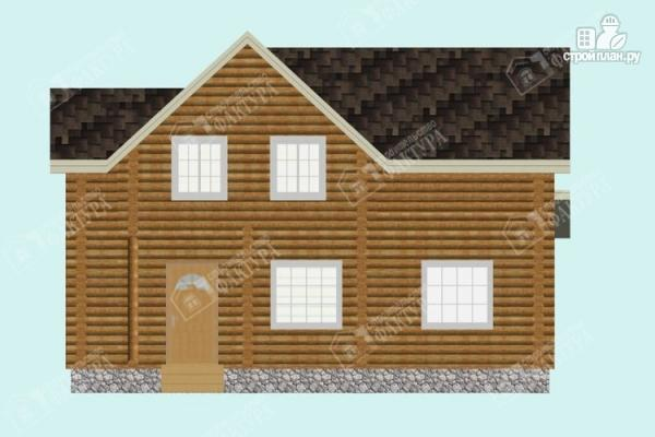 Фото 4: проект дом из бревна с высокой мансардой