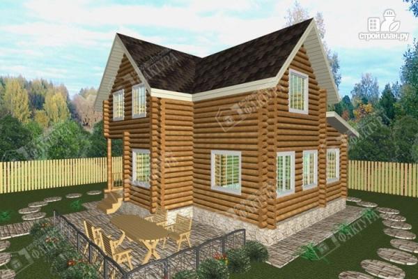 Фото: проект дом из бревна с высокой мансардой