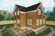 Проект дом из бревна с высокой мансардой