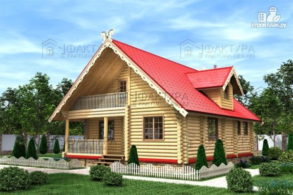 Фото: проект бревенчатый дом с балконом и террасой