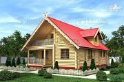Проект бревенчатый дом с балконом и террасой