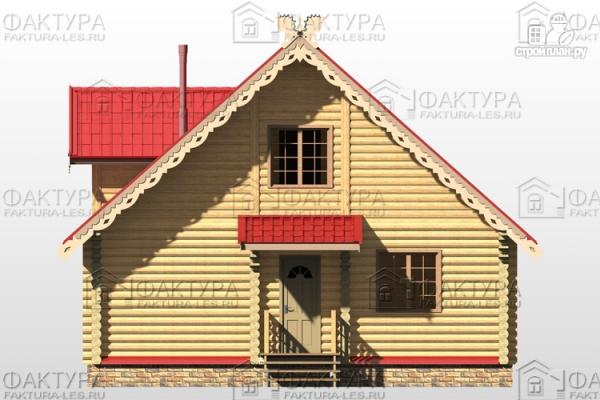 Фото 6: проект бревенчатый дом с балконом и террасой