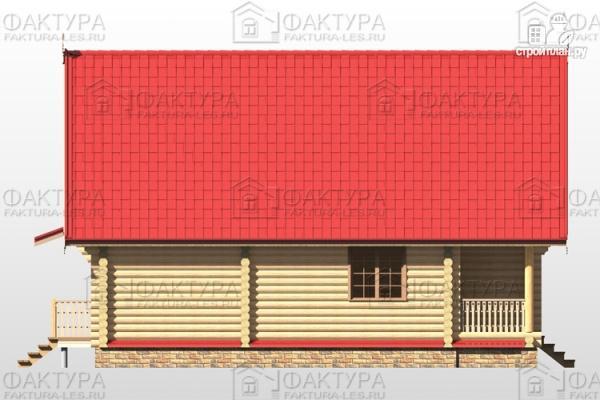 Фото 7: проект бревенчатый дом с балконом и террасой