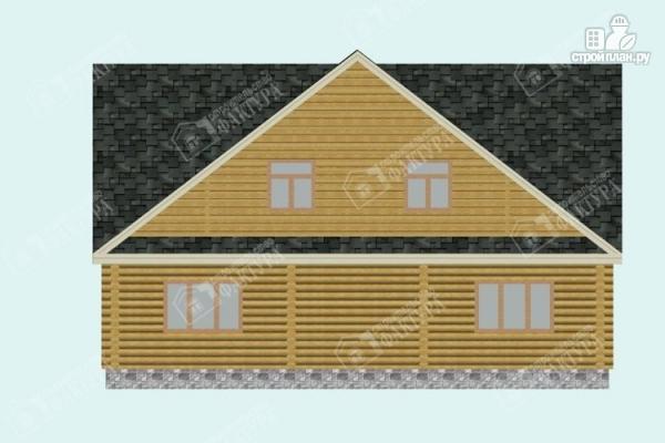 Фото 6: проект дом из бревна 10х11 с лоджией и широкой террасой