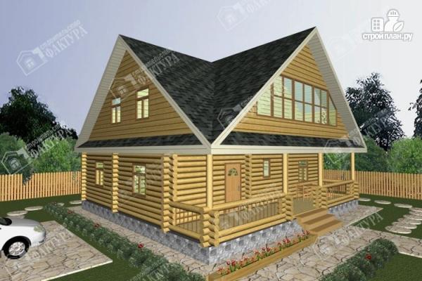Фото: проект дом из бревна 10х11 с лоджией и широкой террасой