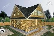 Фото: дом из бревна 10х11 с лоджией и широкой террасой